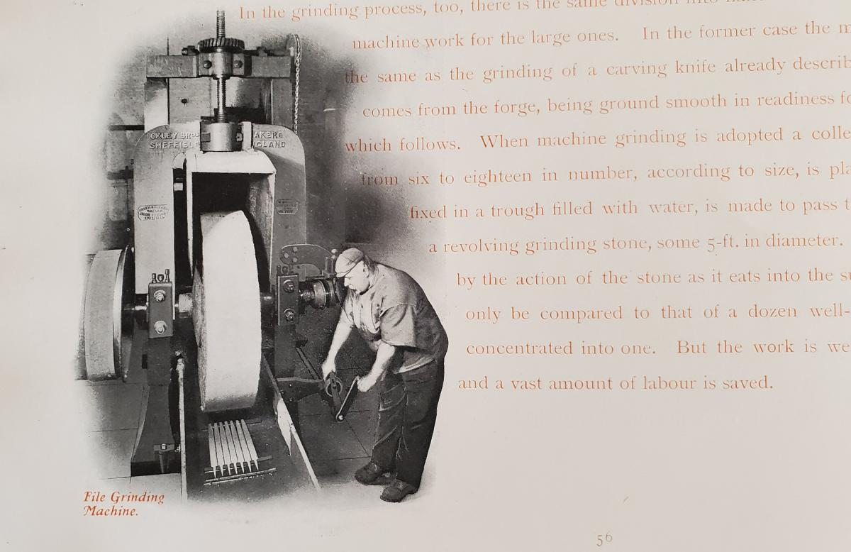 Machine grinding Files. In 1800, the grinding would have been done by hand.  From the book