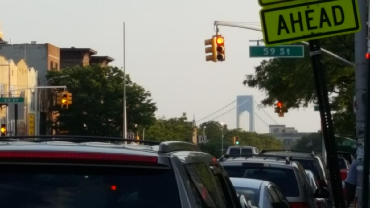 In the distance the giant Verrazano-Narrows Bridge, which you might remember from Saturday Night Fever, looms over the horizon.