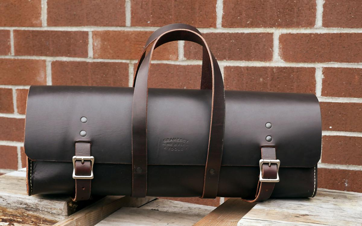 The Gramercy Tool Bag in dark brown. We also stock a lighter Whisky brown version