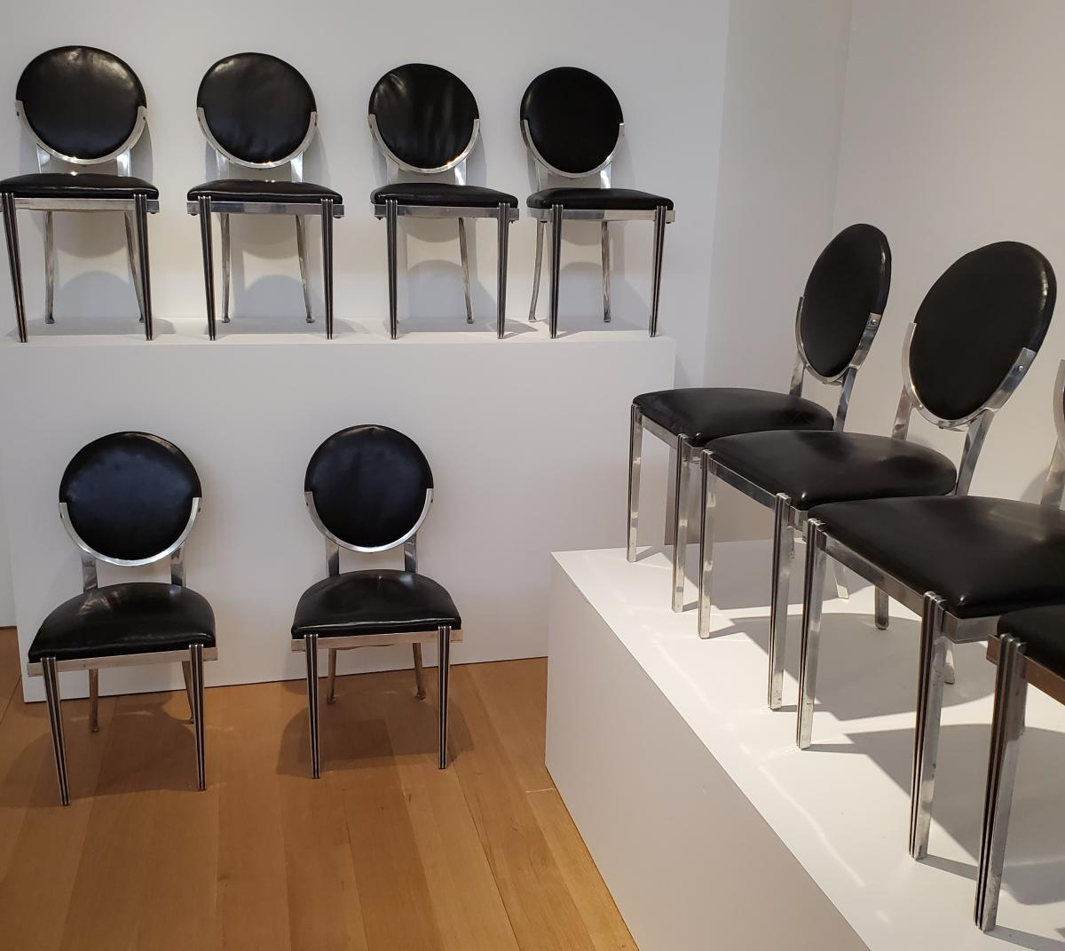 Set of metal chairs by Emile-Jacques Ruhlmann