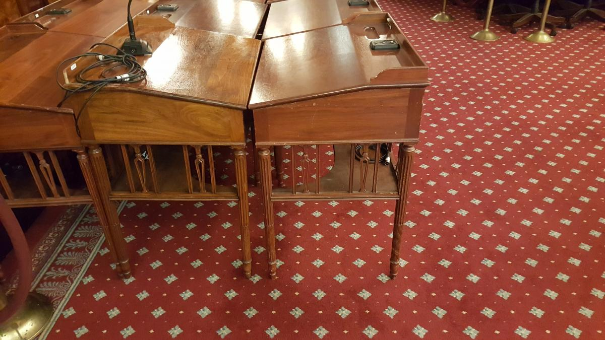 Desks for the Councilmembers - a traditional design - probably from day one. Not in use today we sat on folding chairs. What a comedown.