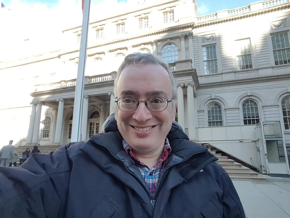 I'm not big on selfies, but here I am in front of City Hall. It's a really elegant building.