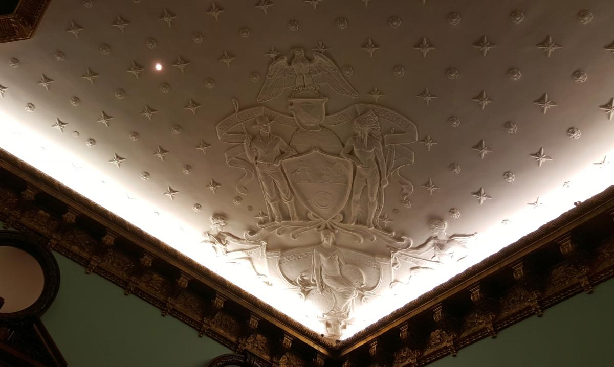 Not to be outdone by the joinery, the ceiling has stars all over it with giant low relief panels in each order. The detail is wonderful, I am not sure if the carvings and stars are plaster or applied wood carving.
