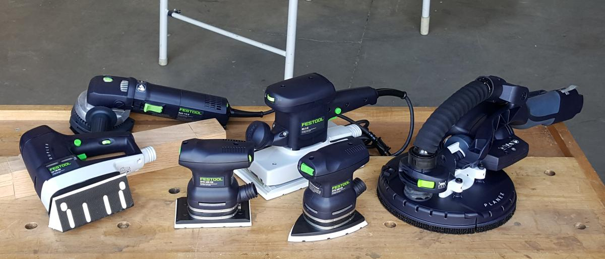 The Specialty Sanders: (l-r) LS-130, RAS 115.04, RTS400, RS/2, DTS400, Planex