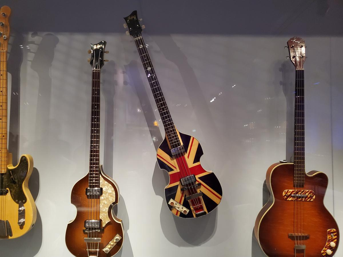 The violin bass in the center was made for Paul McCartney's Jubilee Concert appearance