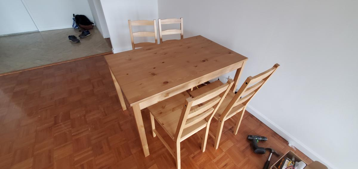 A dining table and 4 chairs for $139!
