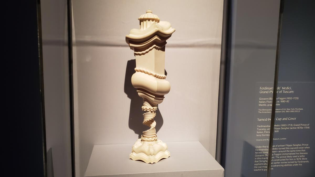 Turned-Ivory Cup and Cover by Ferdinando de' Medici, Grand Prince of Tuscany 1681. The prince was 18 when he turned this cup and cover. His teacher was Filippo Sengher.