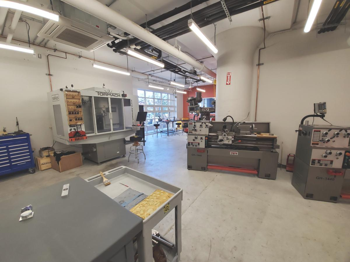 Metal lathes and one of their two CNC mills