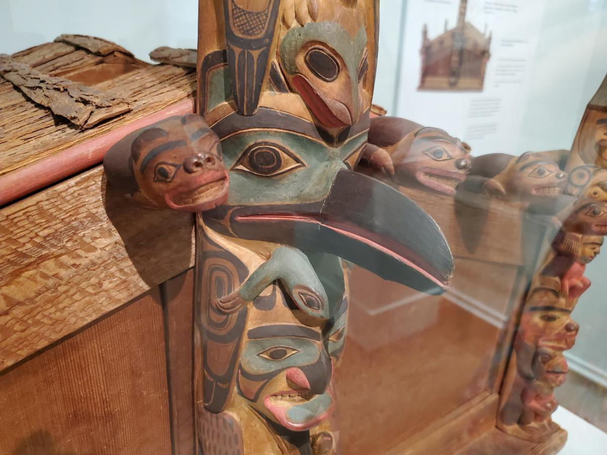 Detail of model house by Charles Edenshaw Da.a xiigang - C. 1839-1920 Haida BC late 19th century