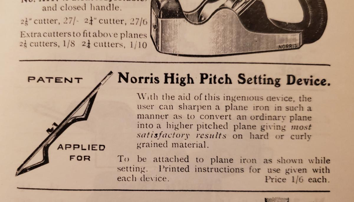 Back Bevels, The Norris High Pitch Setting Device  - The Thing That Never Was 1