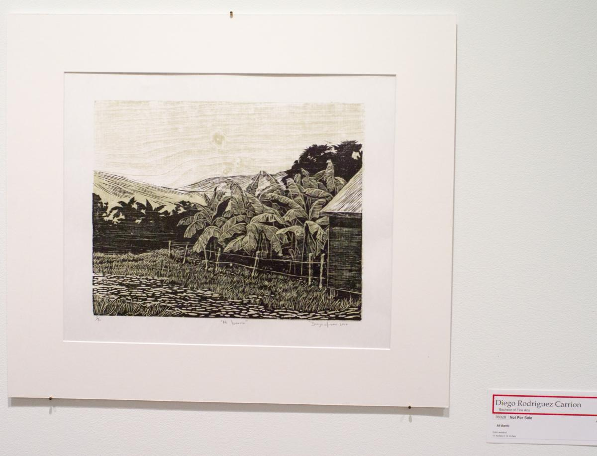 Two of Diego Rodriguez Carrion's wonderful wood engravings were highlights of the student show. His use of the grain of the wood as part of the design showed a welcome appreciation of materials.