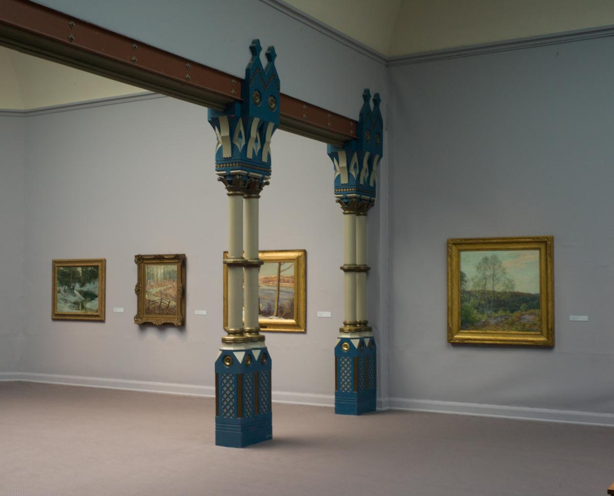 These columns supporting a steel beam are just cool.