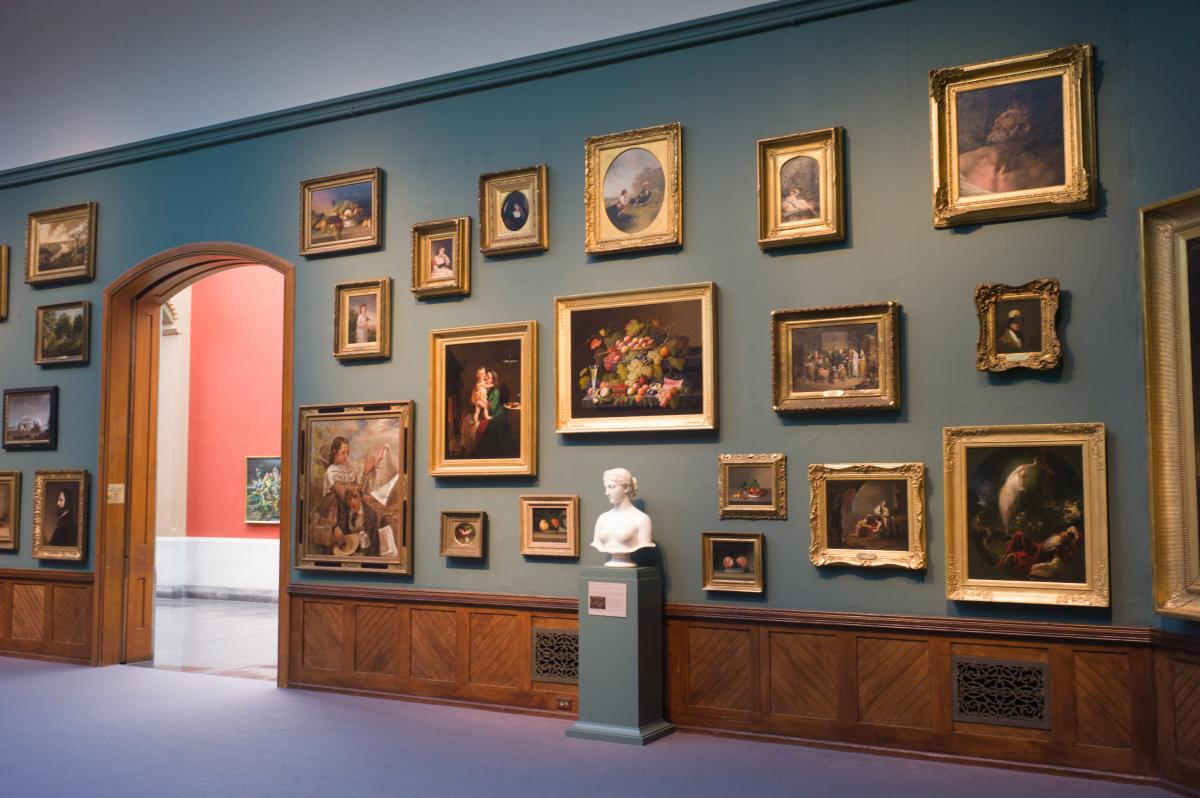 The diagonal wainscotting in most of the galleries adds energy to the rooms and also makes them much less sterile than a modern hall. The salon-style of display, also associated with Philadelphia's great Barnes Foundation, is unusual for the Academy of the Fine Arts