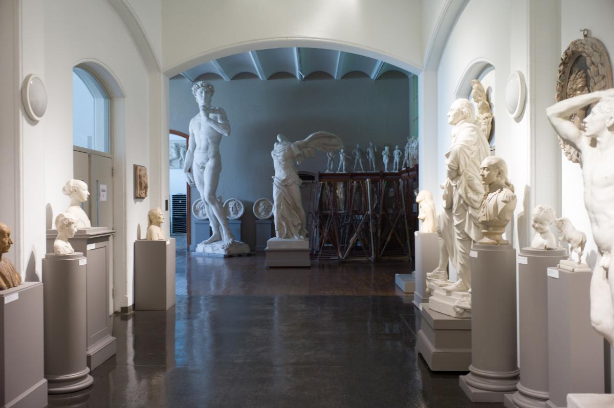 In the basement at dozens of wonderful plaster casts of the great sculptures of classical Europe. Used by students for study, some of the casts date from the founding of the school.