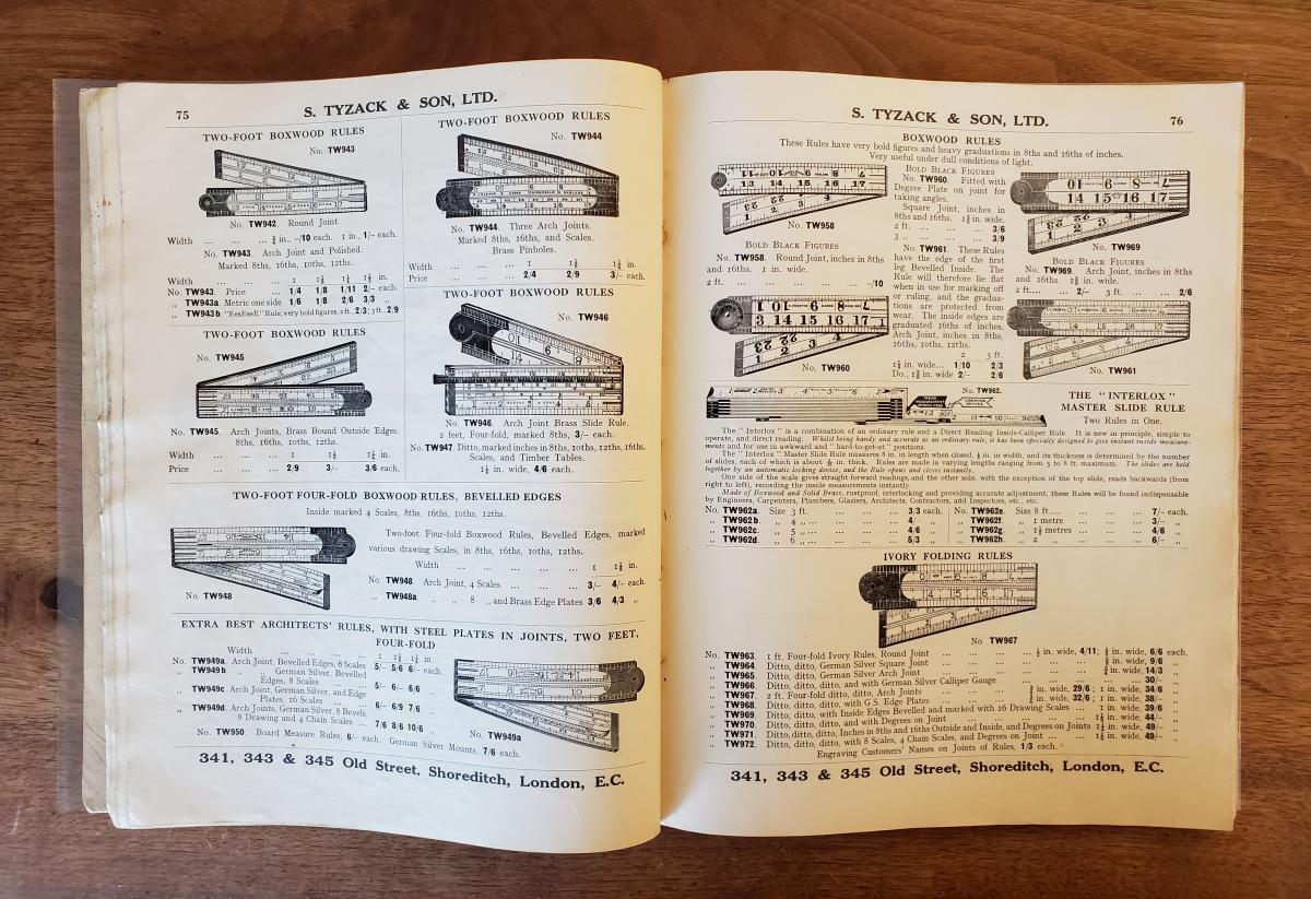 Tyzack Catalog C. 1930 - More folding rules