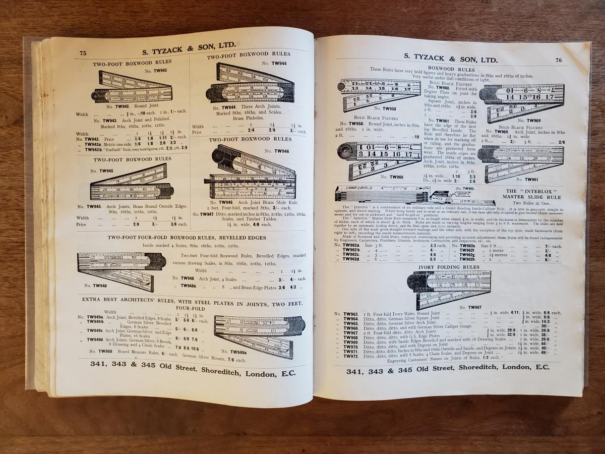 Tyzack Catalog C. 1930 - Even more folding rules