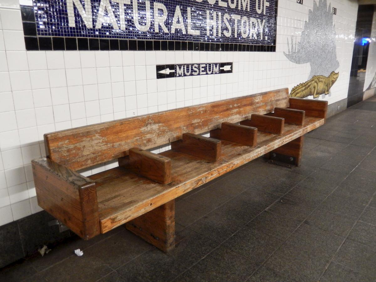 This heavy oak bench probably has seen it all. From the infamous blackout of 1977 to 9/11 and to the Covid-19 outbreak.
