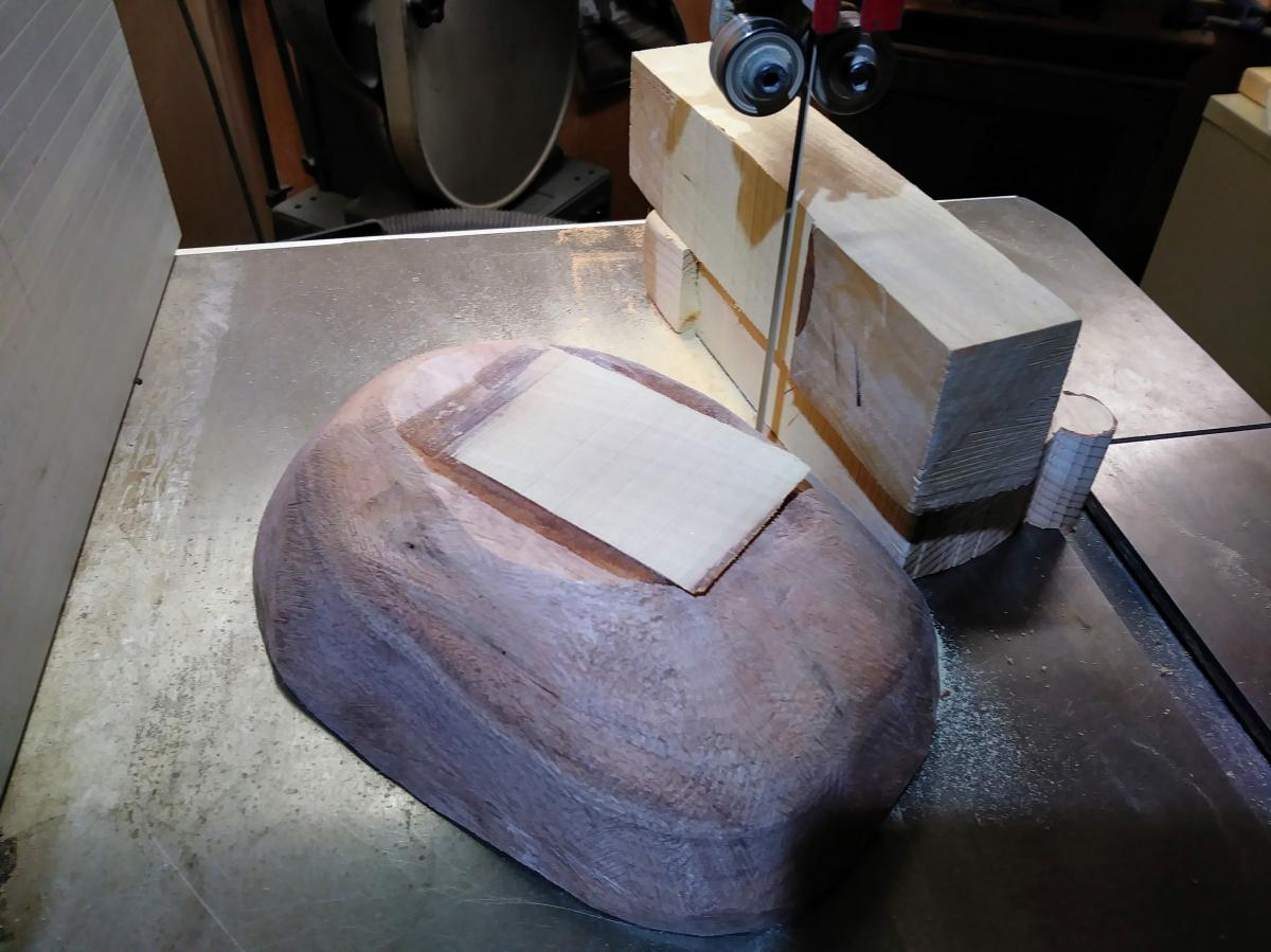 Now saw off the keel block.