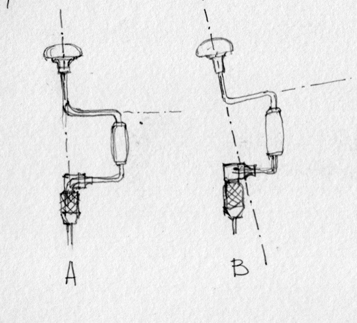 "Another indicator for a mishandled or abused brace is when the brace's crank is eccentric, or in other words when the brace's axis do not run continuously through the head and the chuck (B). A ""healthy"" brace will display a concentric geometry, where its axis run through the head and the chuck (A)"