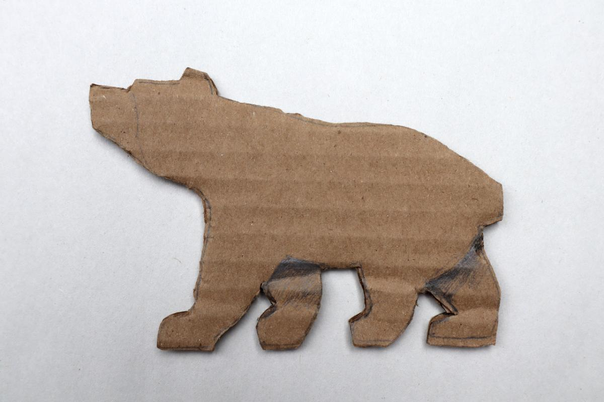 Then I cut the shapes and highlighted two distinct leg positions: In option one, the legs on the right side of the bear are pointing backward where the legs on the left side point forward.