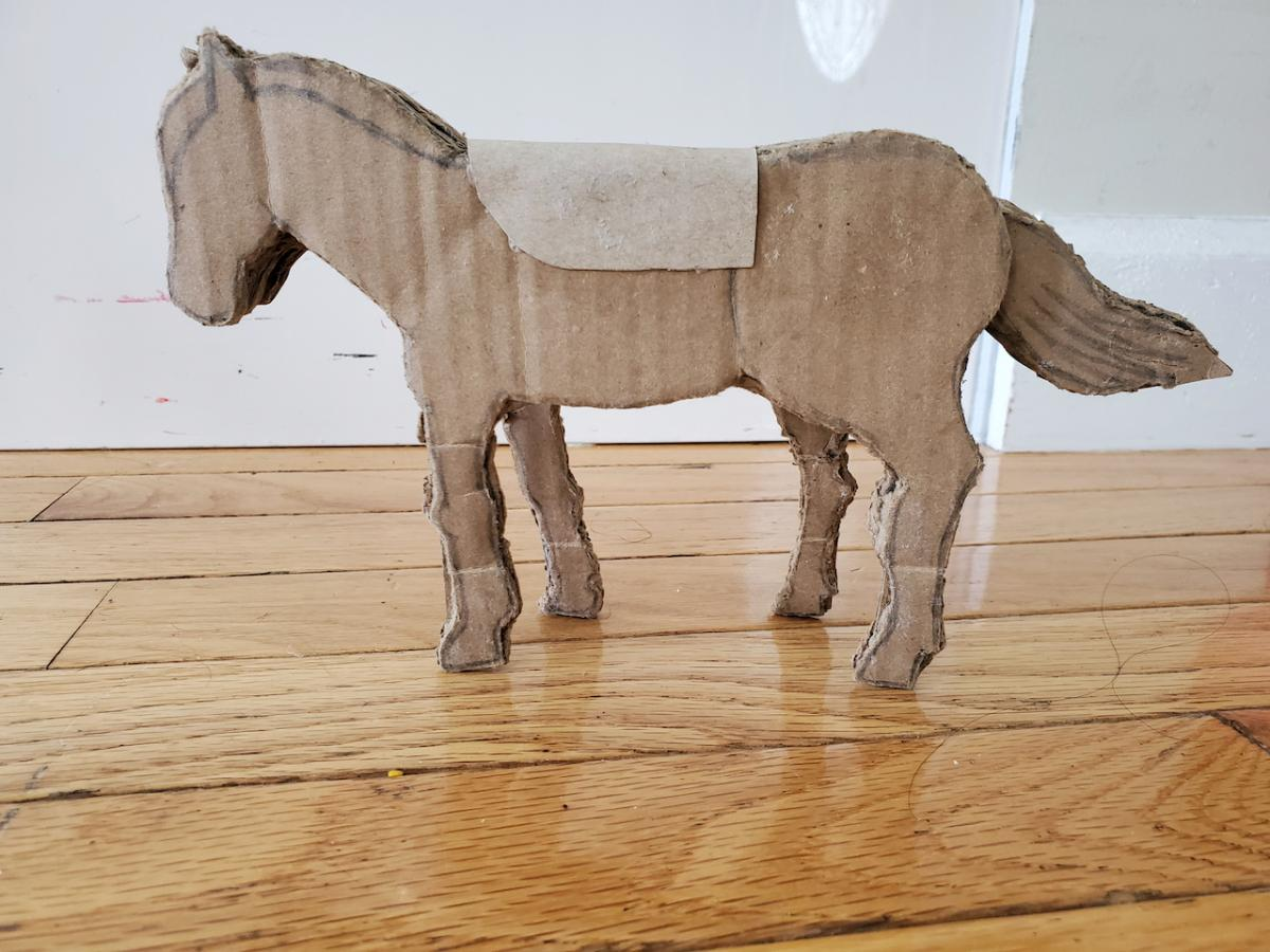 My 5th-grade student Saumaya, designed and build this horse from corrugated cardboard. She implemented the design principals that I laid out here and was able with the help of just a few tools such as scissors and a craft knife, to make a wonderful project.