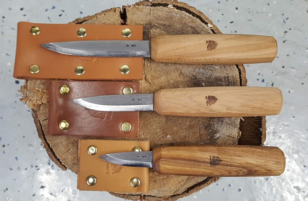 Sloyd knives like these from Ben & Lois Orford are traditional straight knives for carving spoons and other figured objects that come in a variety of shapes and sizes