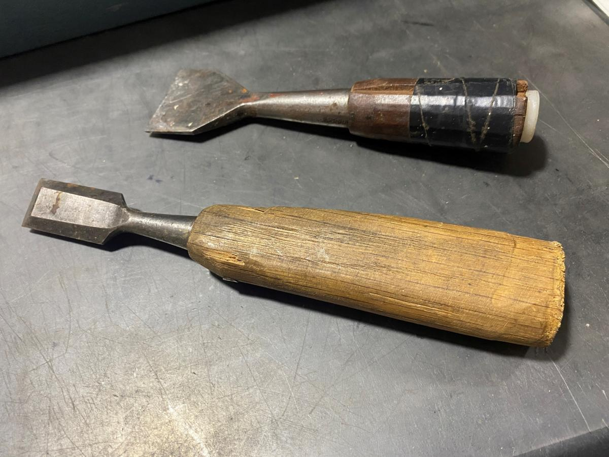 ...these two chisels. These chisels stuck with me. Taped up