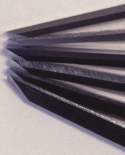 View of the sides of different chisels