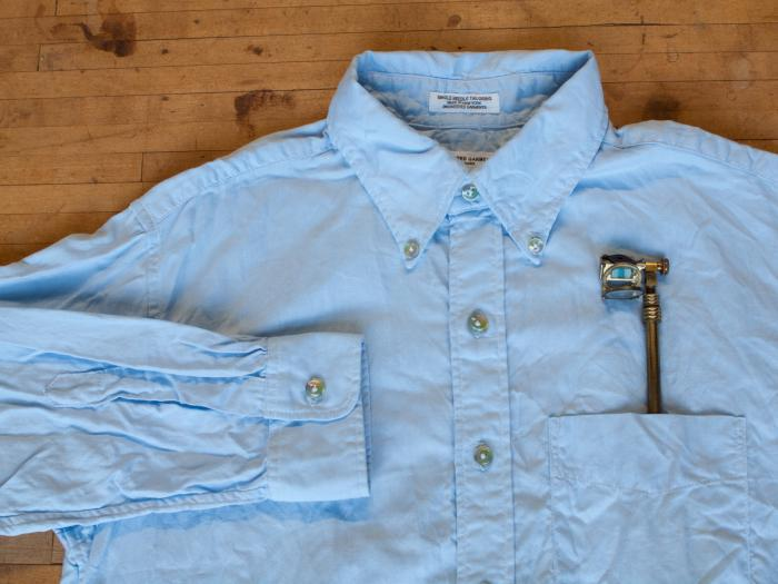 19th C. camera lucida - 19th century button down in light blue cotton oxford