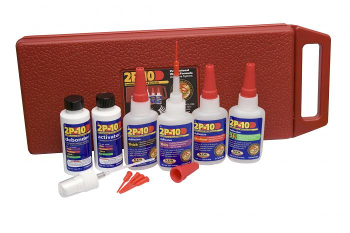 2P-10 Kit - Thin, Medium, Thick and Jel adhesives, Activator, Debonder and accessories