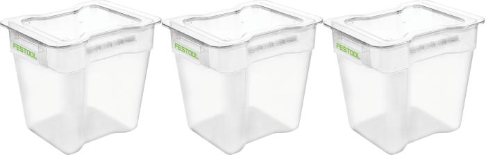 Set of three extra plastic waste containers w/lids (#204295)