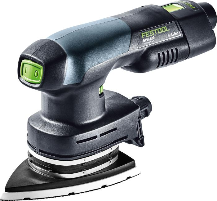 Cordless orbital sander DTSC 400 Li-Set. Includes the sander, 2 x 3.1 BT batteries, TLC charger,and a plug-in adapter (#575707)