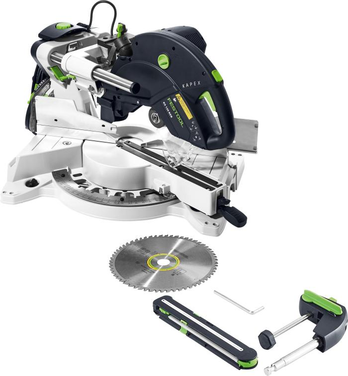 2019 version of the miter saw with a standard blade, angle transfer device, hold-down clamp, and wrench. (#575306)