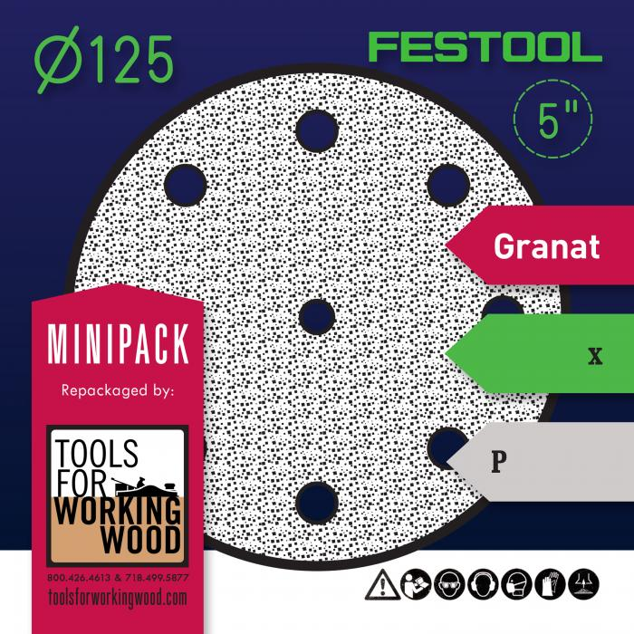 "Festool Granat - Mini Packs of 5"" 125mm Diameter Sanding Disks"