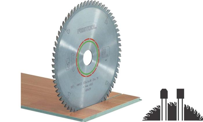 48 tooth triple-chip blade designed for hard materials like laminate flooring, and polymer materials like solid surface countertops. (#496309)