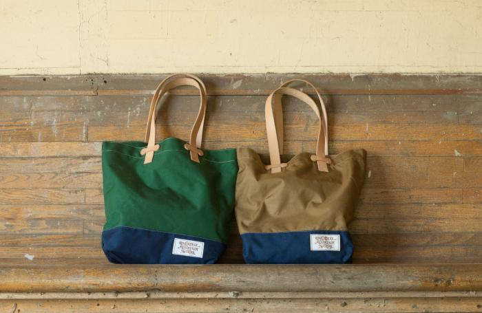 RMW Bag'nsack Tote-Bag - Green and Navy next to Brown and Navy