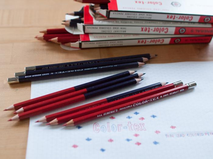 Color-Tex Color Pencils in Red and Blue