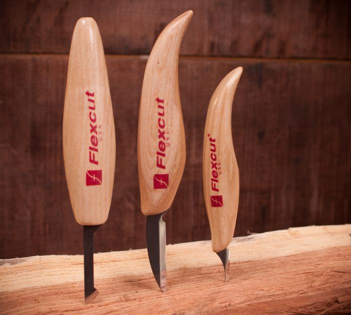 Flexcut Carving Knives - Flexcut uses three styles of wooden handle Push, Regular or Mini/Detail. We've found them all pretty comfortable.