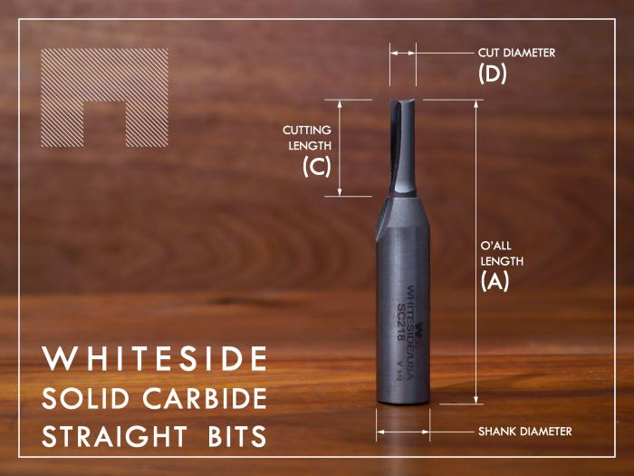 Whiteside Solid Carbide Straight Router Bits