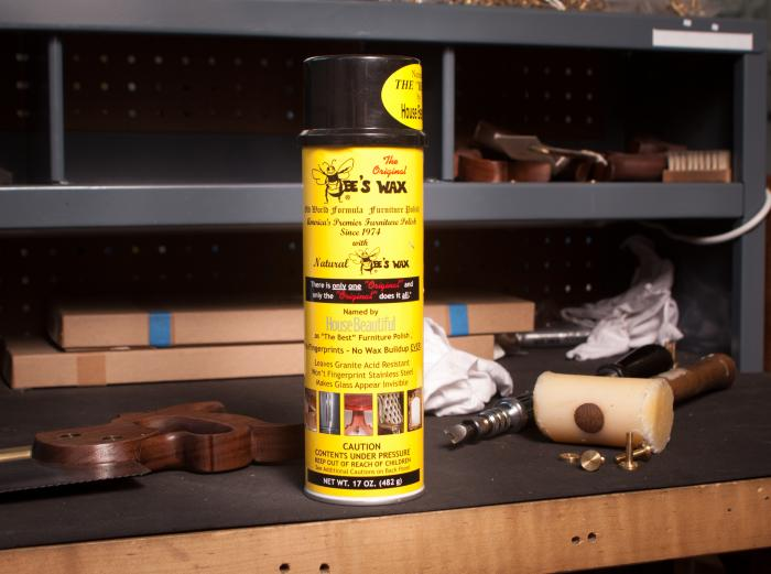 The Original  Bee's Wax Spray - There's always a can of Bee's Wax on the Gramercy Tools saw assembly bench