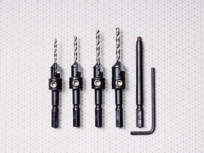 "4 Pc Countersink Set with #2 Square Driver Bit - Includes: 3/32"" + 7/64"" + 1/8"" + 9/64"" Countersinks, #2 x 3"" Square Driver Bit and 1/8"" Hex Key(#93052)"