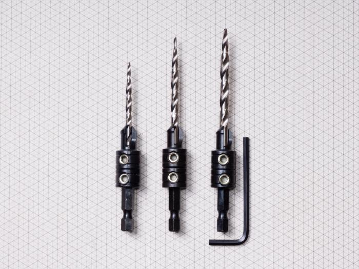 3 Piece Tapered Drill Countersink Set
