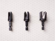 "3 Piece Tapered Plug Cutter Set Includes: 1/4"", 3/8"", & 1/2"" sizes, (all with Quick Change Shank)(#43300)"